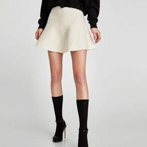 Zara knit A Line mini skirt in Ecru white